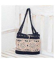 crocheted shoulder bag, 'sunflower texture in ivory' (guatemala)