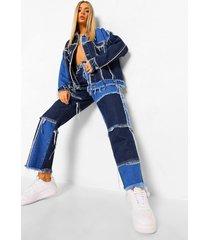 boyfriend jeans met patches, mid blue