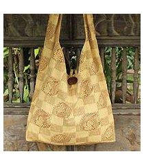 cotton shoulder bag, 'golden blooms' (thailand)
