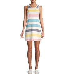 malin striped cotton-blend mini dress