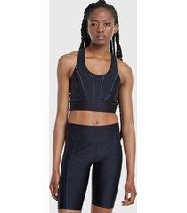 peto deportivo desigual bra crop top studio negro - calce ajustado