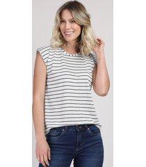 blusa feminina básica listrada manga curta cinza mescla claro