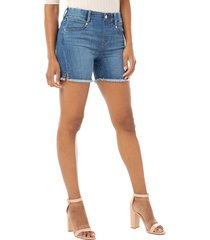 women's liverpool gia glider fray hem pull-on denim shorts, size 16 - blue