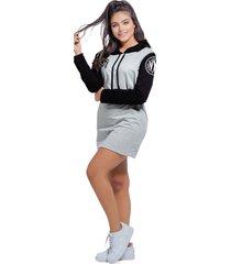 vestido corto para mujer bicolor negro - gris jaspe mp