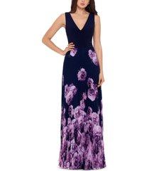 xscape petite illusion-waist floral-print pleated gown
