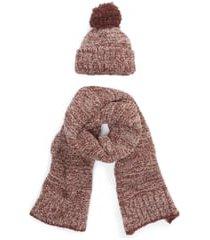 women's barefoot dreams pompom beanie & scarf set, size one size - pink