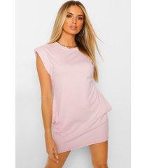 t-shirtjurk met schoudervulling, roze