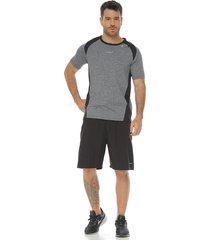 pantaloneta deportiva con licra interior  negro-gris racketball para hombre