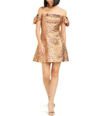 aidan by aidan mattox off-the-shoulder metallic dress