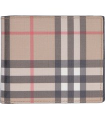 burberry checked print fabric flap-over wallet