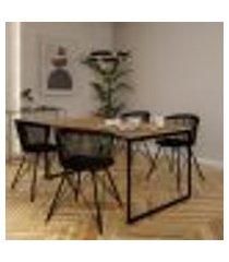 mesa de jantar retangular industrial dallas carvalho e preta 160 cm