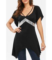 slit sleeves sequined asymmetrical t-shirt