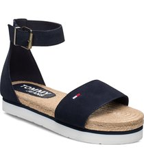 natural rope sandal shoes summer shoes flat sandals blå tommy hilfiger