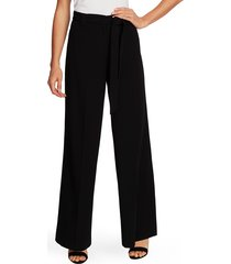 women's vince camuto belted wide leg textured twill pants, size 12 - black
