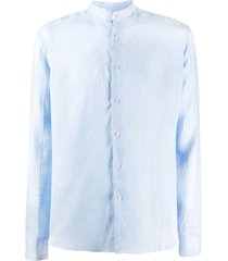 peninsula swimwear budelli mandarin-collar shirt - blue
