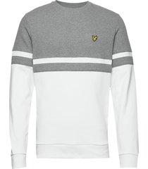 panel stripe crew neck sweatshirt sweat-shirt trui wit lyle & scott