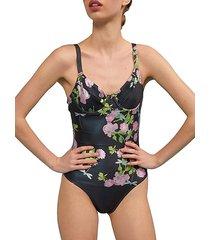 sandi metallic rose one-piece swimsuit