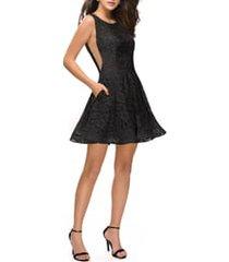 women's la femme lace fit & flare cocktail dress, size 12 - black