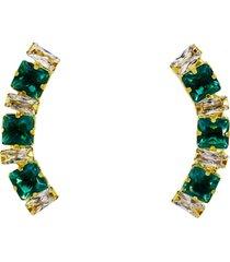 brinco ear cuff cristais esmeraldas quadradas banhado a ouro 18k - verde - feminino - dafiti