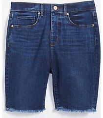 loft frayed skinny bermuda shorts in indigo wash