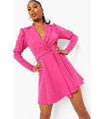 wikkel skater blazer jurk met pofmouwen, hot pink
