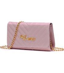 bolsa alice monteiro clutch alça corrente - zig zag rosa