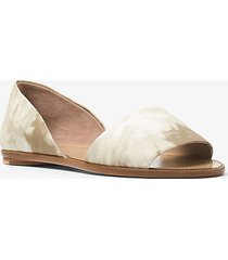 mk scarpa bassa mallory modello d'orsay in pelle tie-dye - sabbia (naturale) - michael kors