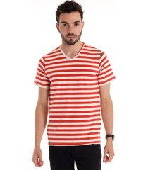 camiseta decote v manga curta vermelho
