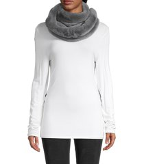 la fiorentina women's rabbit fur-trim eternity scarf - black