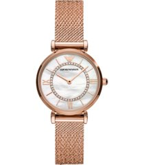 emporio armani women's rose gold-tone stainless steel mesh bracelet watch 32mm