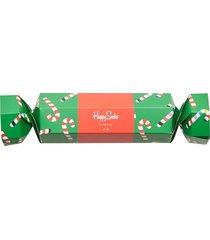 christmas cracker candy cane gift box underwear socks regular socks multi/mönstrad happy socks