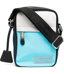 moschino logo-patch messenger bag - grey
