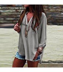zanzea verano las mujeres con cuello en v manga larga ol trabajo normal ladies tops blusa de la camisa suéter más del tamaño -gris