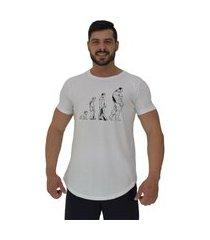 camiseta longline alto conceito evolução branco