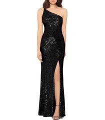 women's xscape one-shoulder sequin column gown, size 10 - black