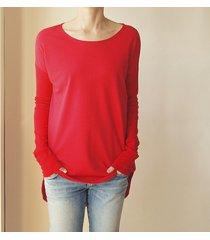 bluza tunika asymetryczna frak okrągły czerwona