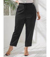 pantalones de bolsillos laterales con diseño de amarre de talla grande yoins