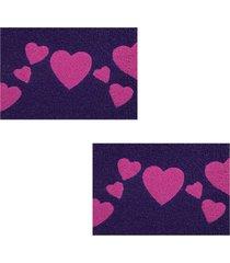 2 capachos p/ porta decorativo 60x40cm love18 - roxo - feminino - dafiti