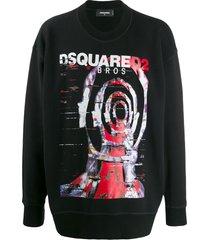 dsquared2 graphic print oversized sweatshirt - black