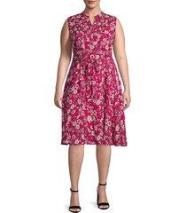 nanette nanette lepore women's plus floral shirtdress - berry - size 24w