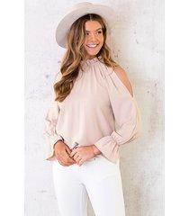 cold shoulder blouse beige