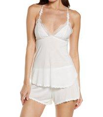 women's monique lhuillier x hanky panky bouquet bride jersey & lace short pajamas, size small - white