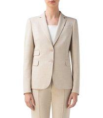 women's akris punto crepe blazer, size 16 - beige