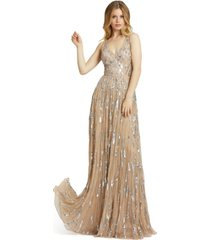 mac duggal v-neck sleeveless embellished gown