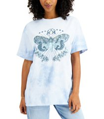 junk food women's cotton butterfly-graphic tie-dyed t-shirt