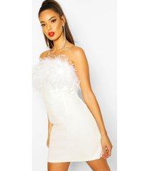 bandeau feather mini bodycon dress, white