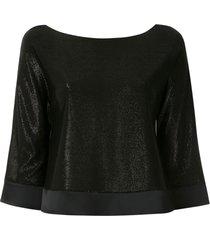 emporio armani shiny boat neck blouse - black