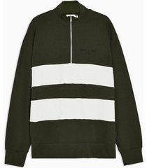 mens big & tall khaki panelled 1/4 zip sweatshirt