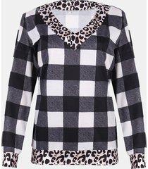 camicetta casual con scollo a v manica lunga patchwork scozzese con stampa leopardata da donna
