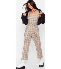 womens check back square neck jumpsuit - sand